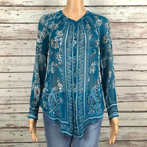 Lucky Sheer Floral Paisley Crinkled Button Shirt